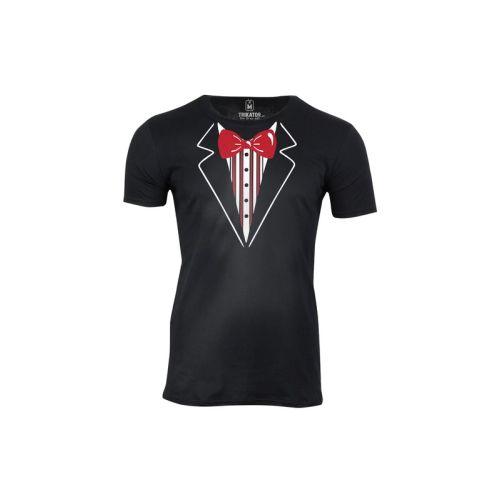 Pánské tričko Smoking s červeným motýlkem