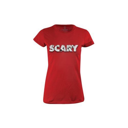 Dámské červené tričko Scary
