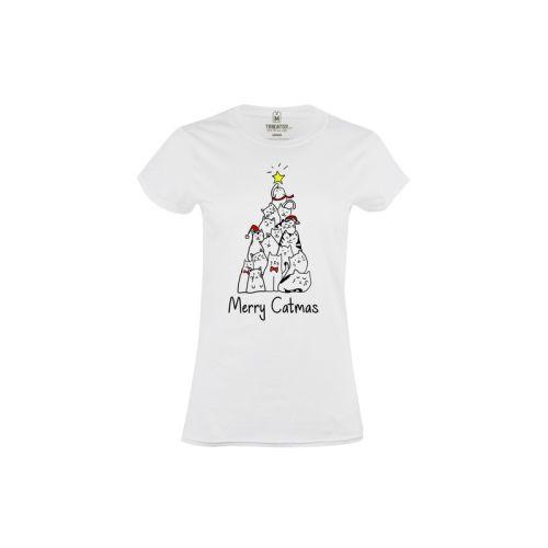 Dámské vtipné tričko Merry Catmas