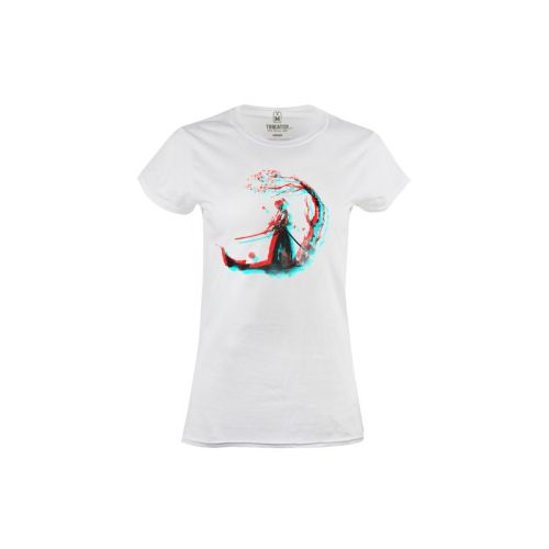 Dámské bílé tričko 3D Samuraj