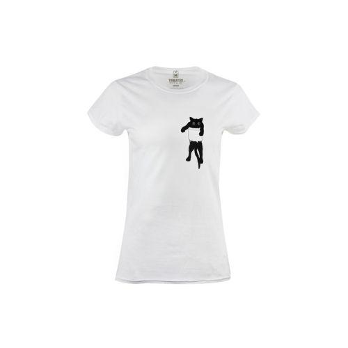 Dámské vtipné tričko černá kočka v kapse