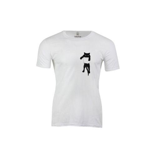 Pánské vtipné tričko černá kočka v kapse